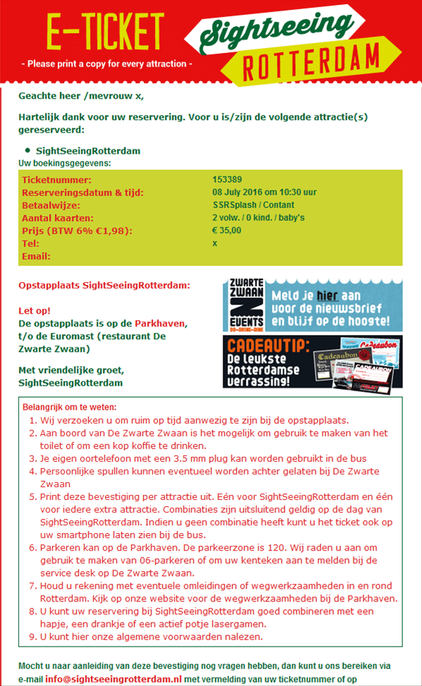 Ticket sightseeing rotterdam